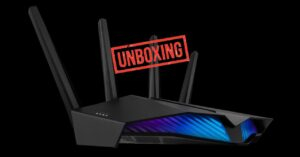 Unboxing gaming router with Wi-Fi 6 and Aura RGB