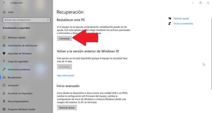 Reset this PC in Windows 10