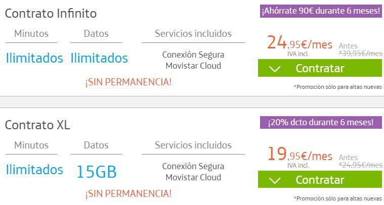 infinite contract movistar 6 months