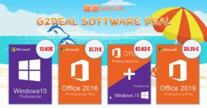 G2Deal summer offer with Windows 10 Pro at € 12.62…