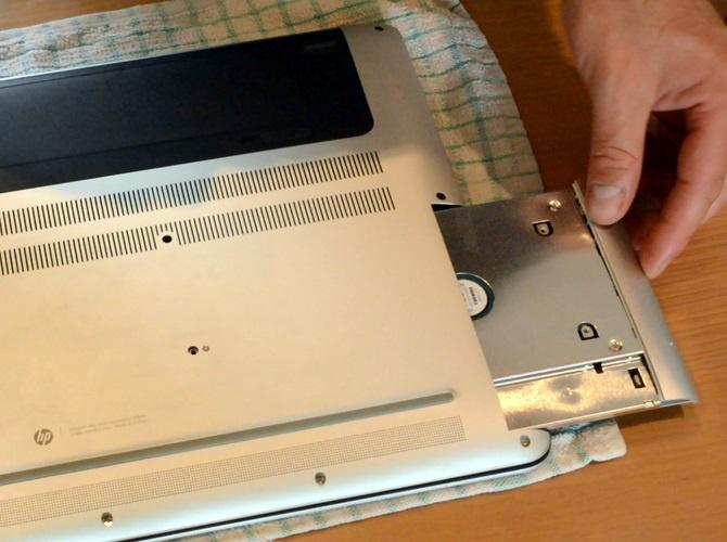 Insert hard drive in laptop
