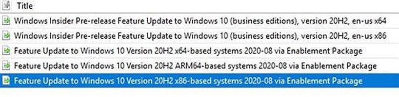 WSUS Windows 10 20H2