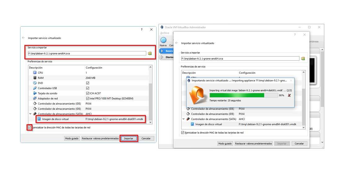Import virtual machine in VirtualBox