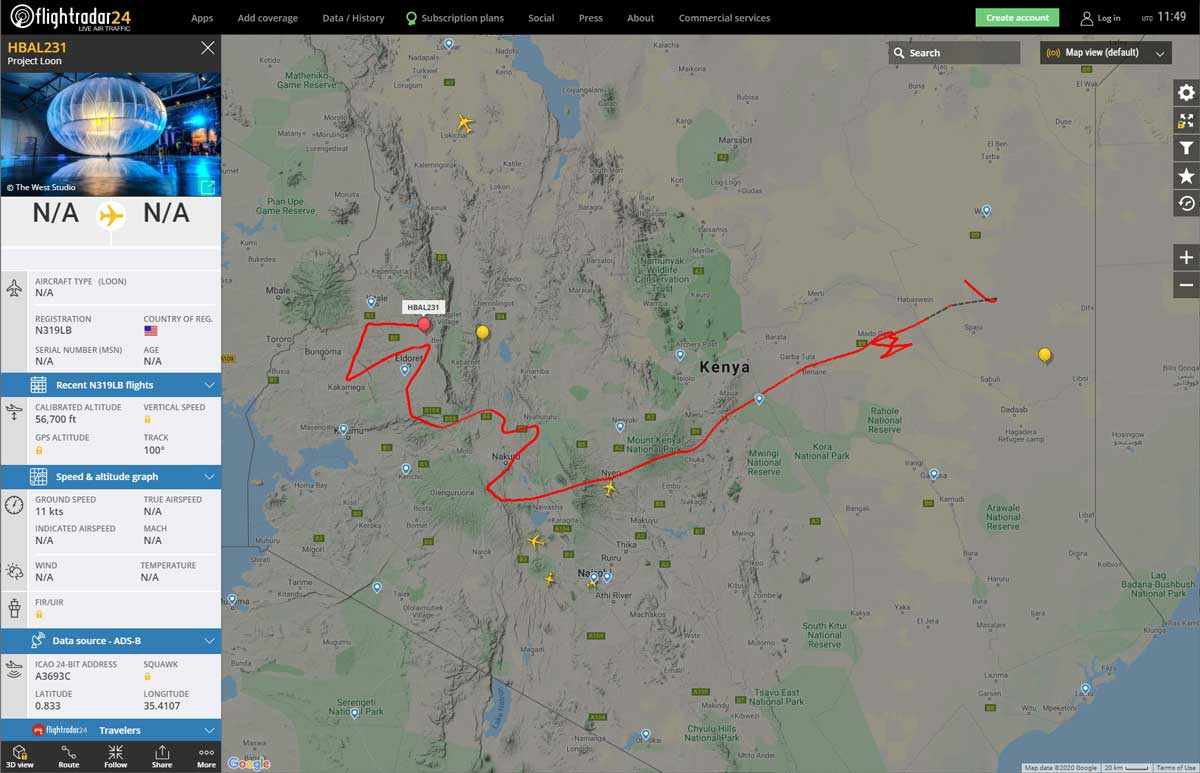 google loon balloons real time