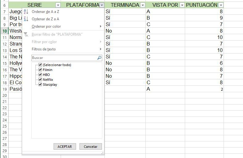 Use filters in Excel databases