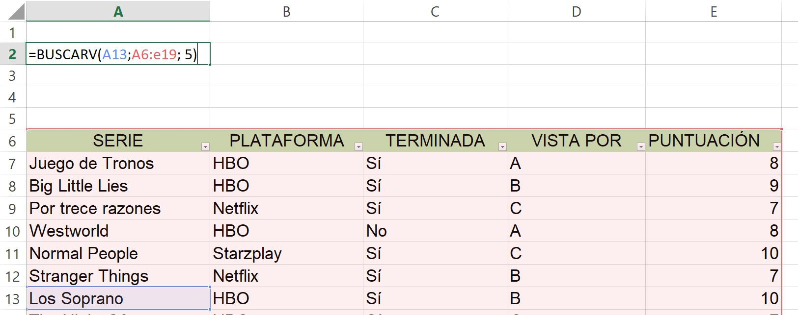 Search database in Excel