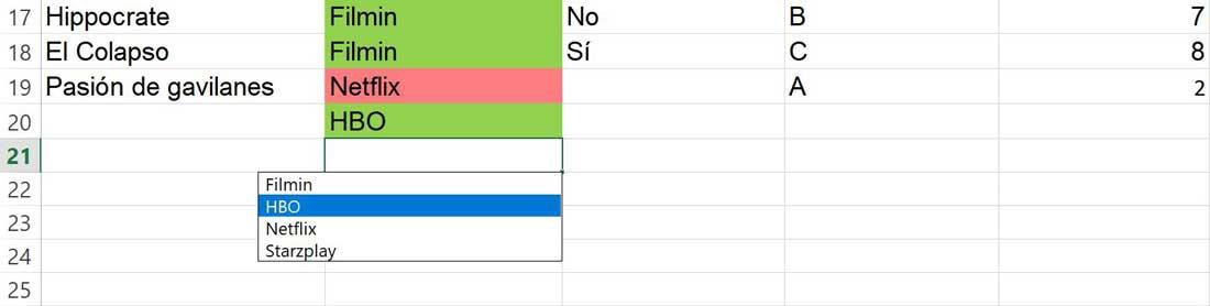 Drop down list in Excel