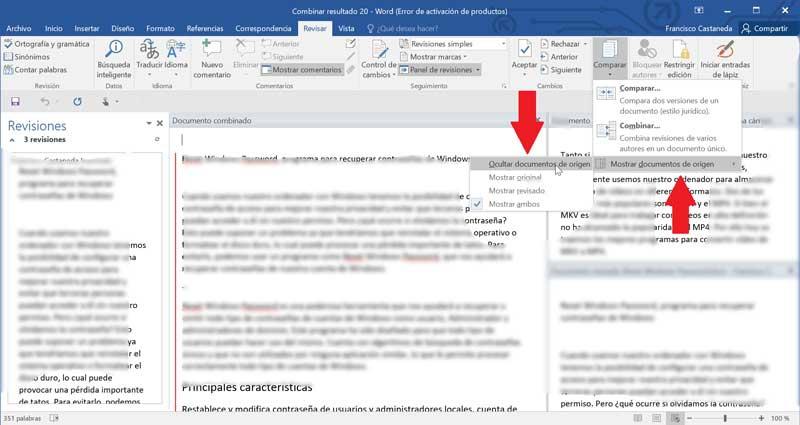 Word hide source document