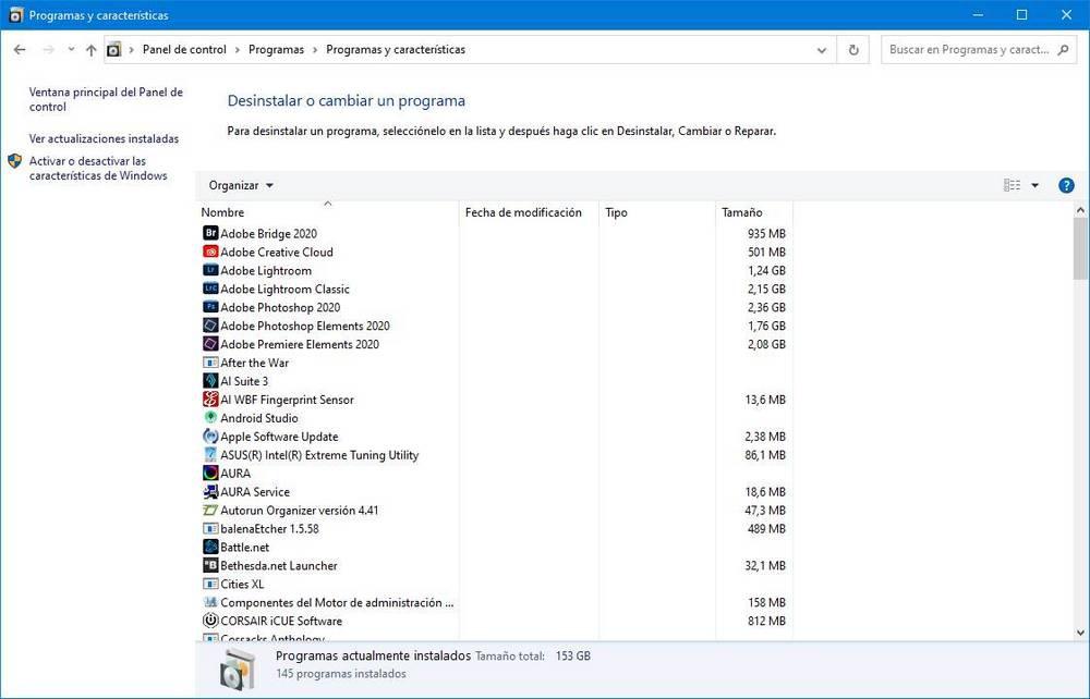Uninstall programs Windows 10 Control Panel