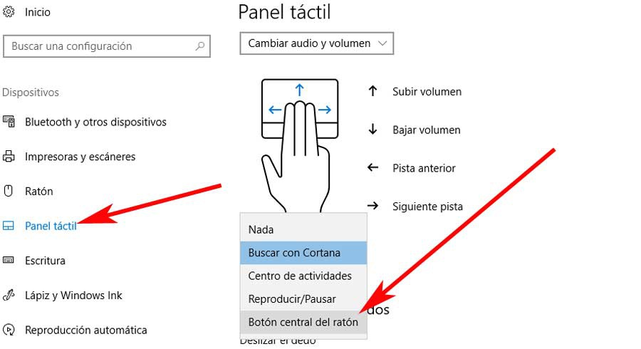 Center button touchpad