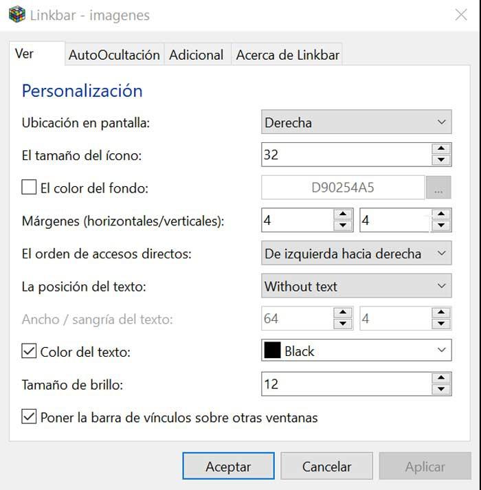 Linkbar Configuration View