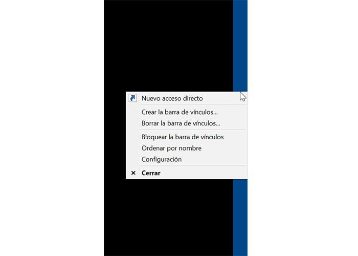 Linkbar context menu