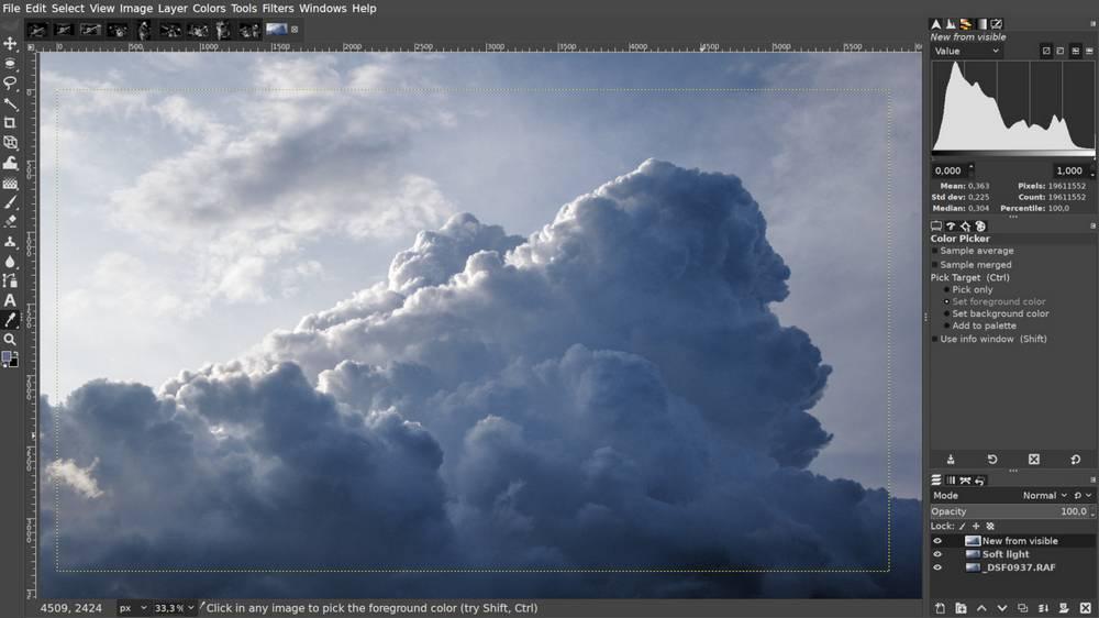 GIMP 2.10.20 - Non-destructive clipping