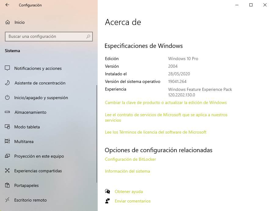 About installed version of Windows 10
