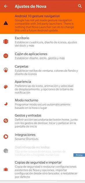 backup nova launcher menu settings