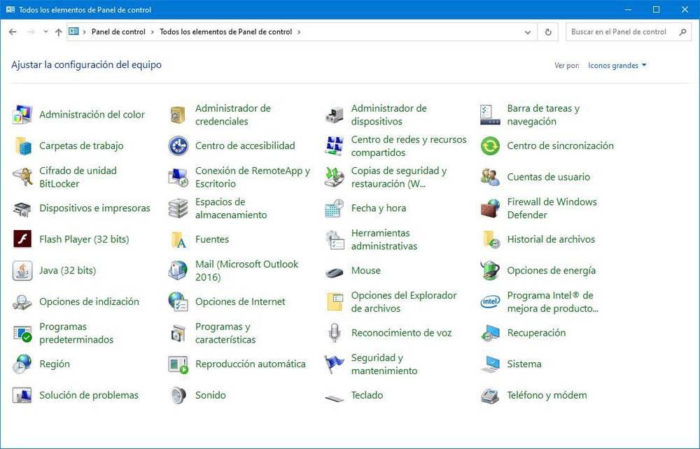 Tools Control Panel Windows 10
