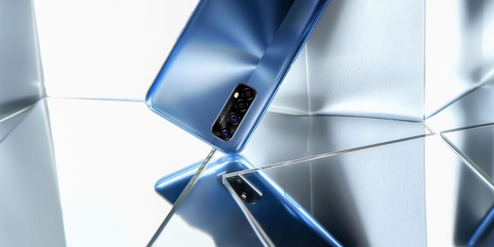 Realme 7 phone in a mirror