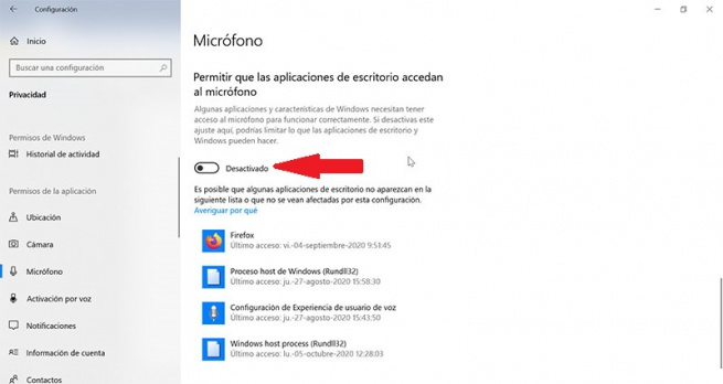 Disable Allow desktop applications to access microphone