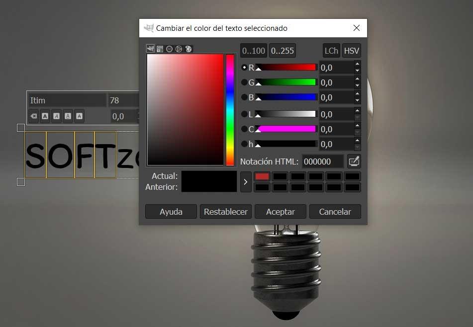 GIMP text colors