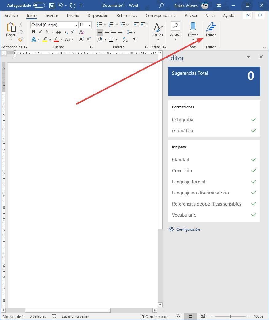 Open Microsoft Editor in Word
