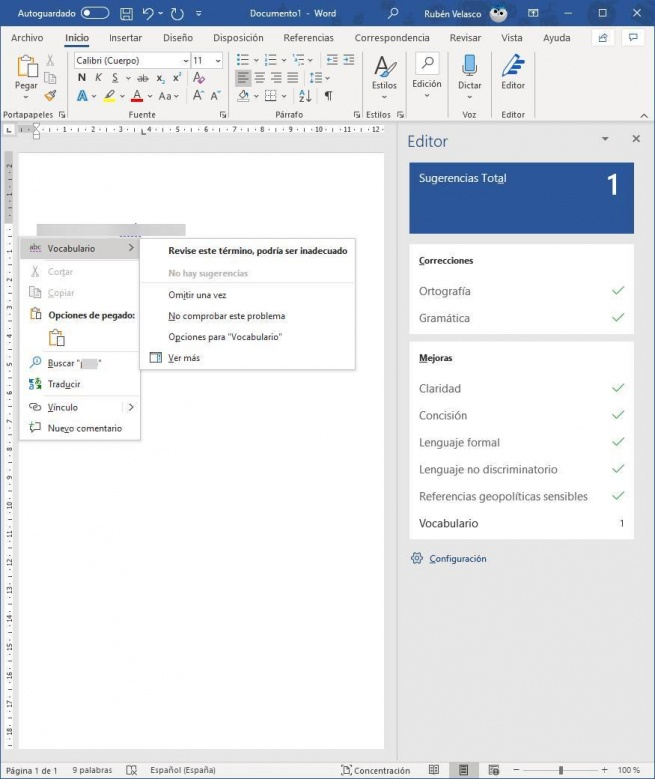 Wrong word in Word - MS Editor