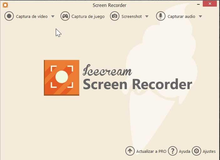 Icecream Screen Recorder, main menu