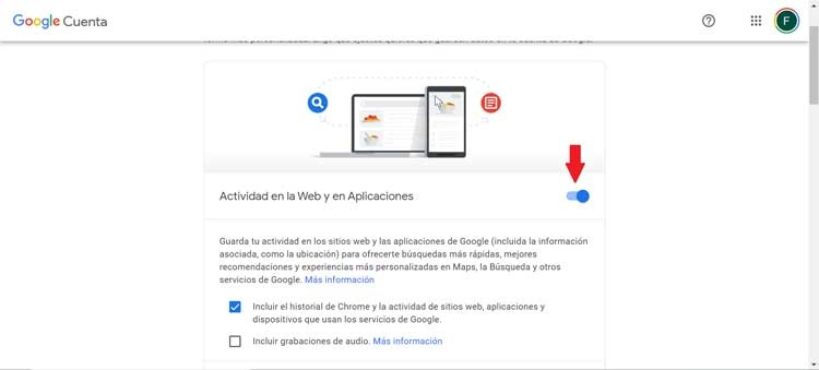 Google Activity on web and applications