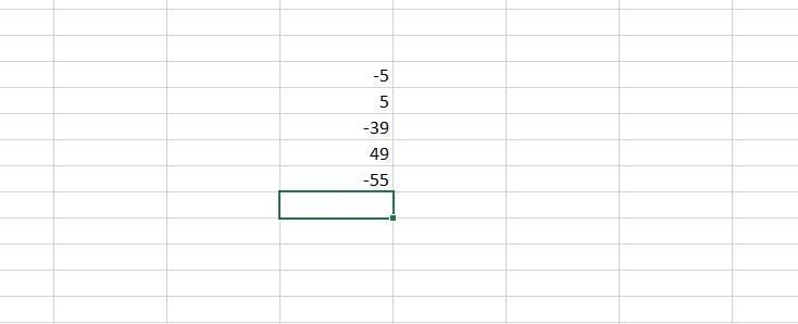 negatives in Excel
