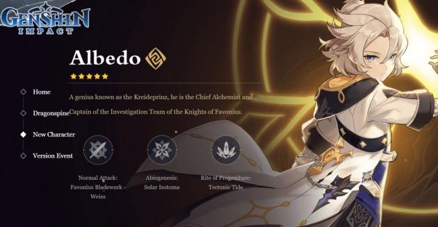 update 1.2 genshin impact albedo