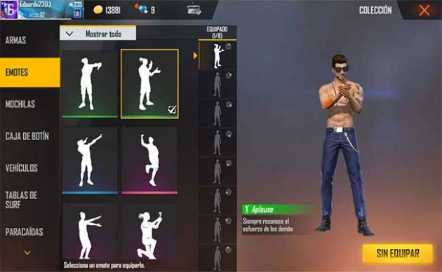 emotes free fire collection