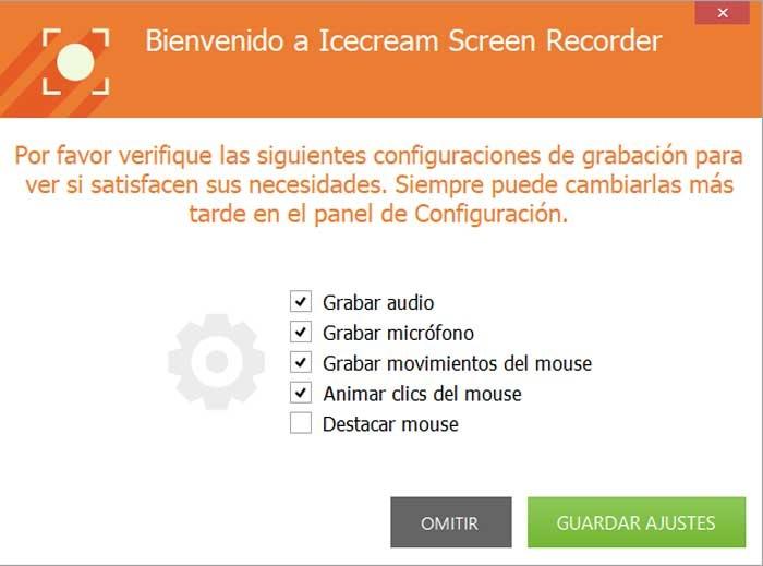 Icecream Screen Recorder, settings