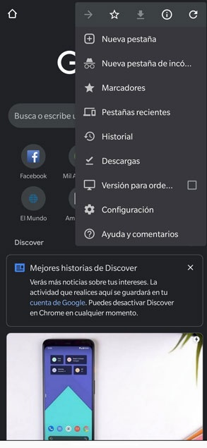 new menu google chrome android