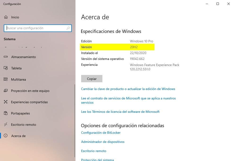 Windows 10 version installed