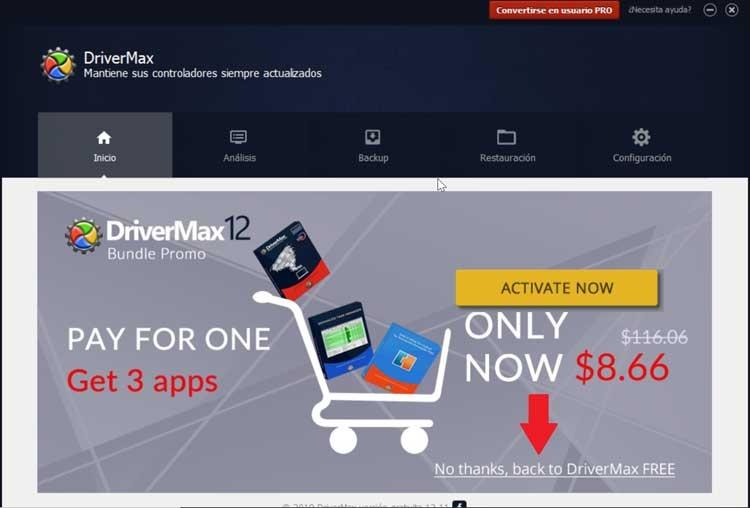 DriverMax skip advertising