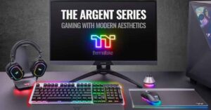 silver and RGB gaming peripherals