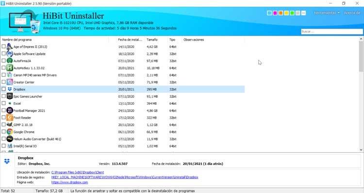 HiBit Uninstaller main menu