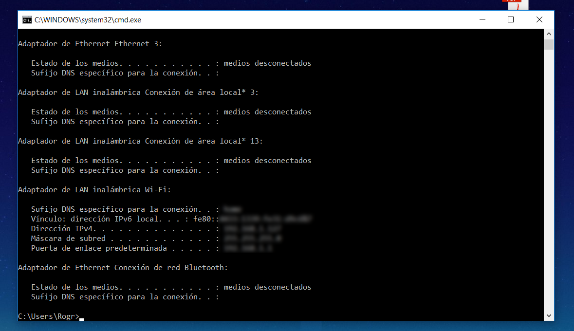 Check the IP in Windows CMD