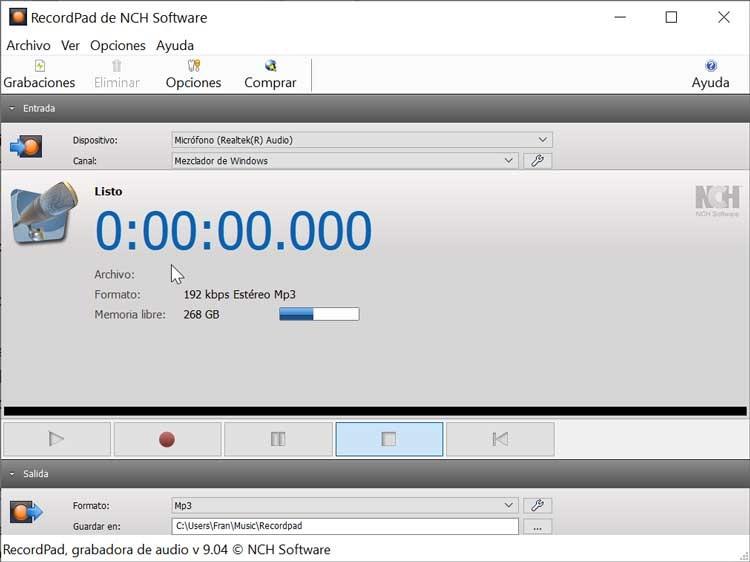 RecordPad main menu