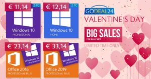 Offers Windows and Office licenses at GoDeal24 for Valentine's Day