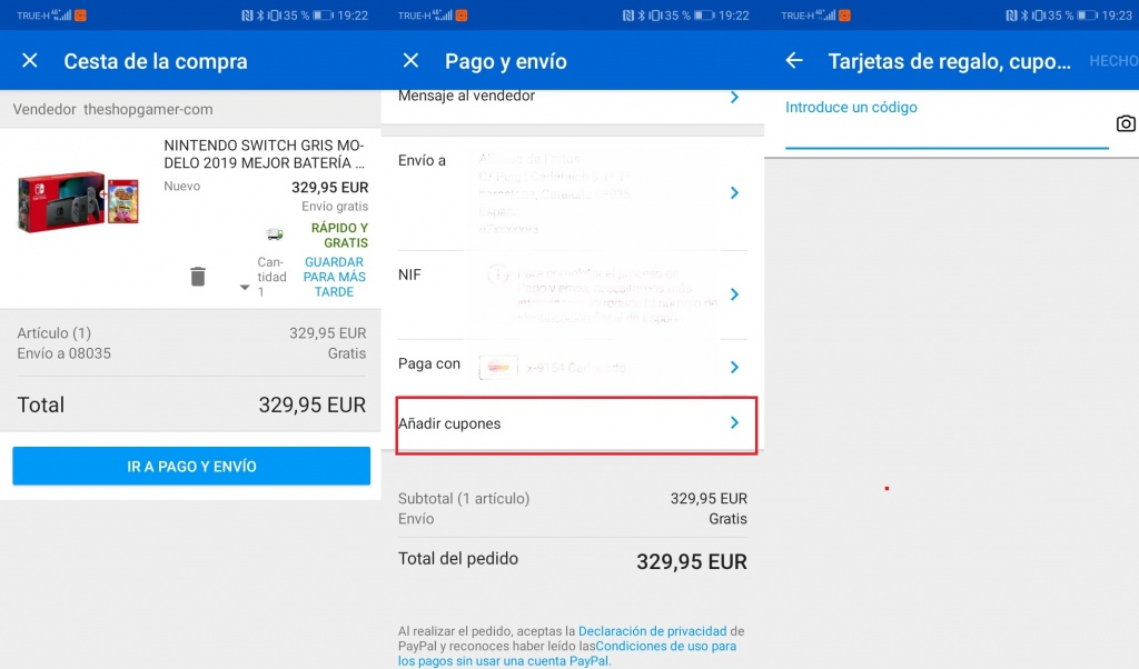 How to use an Ebay coupon in the app