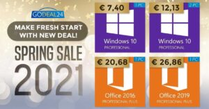 Windows 10 Pro at € 7.40 and Office 2019 at…