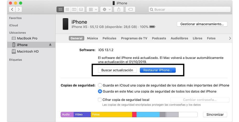 finder restore iphone