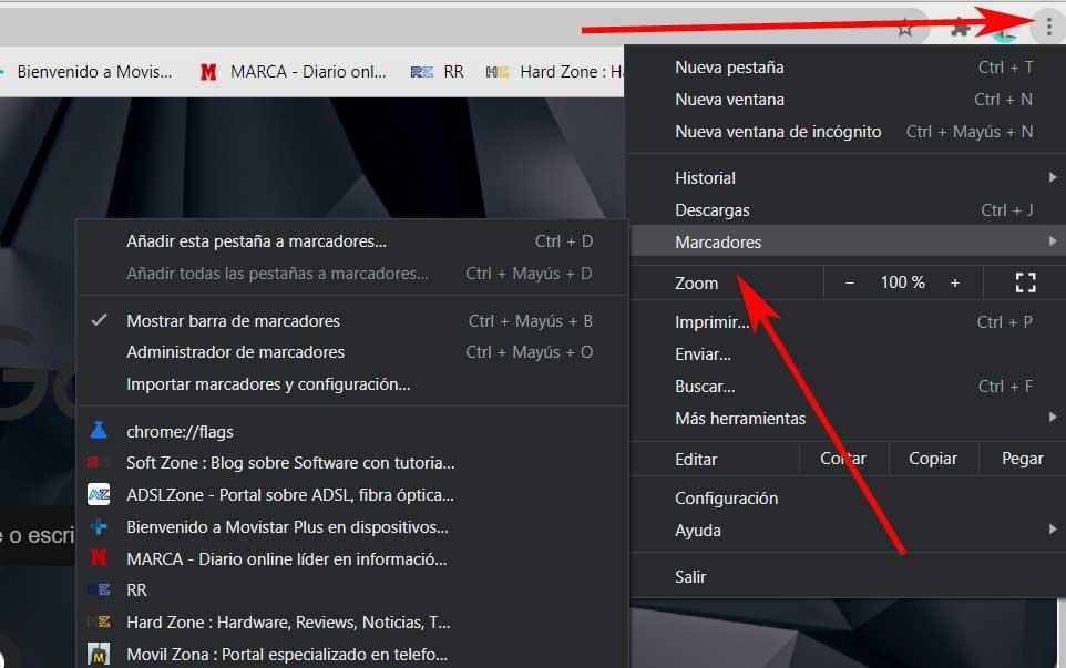 Chrome bookmarks menu