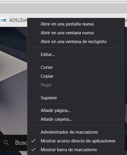 Context menu bar
