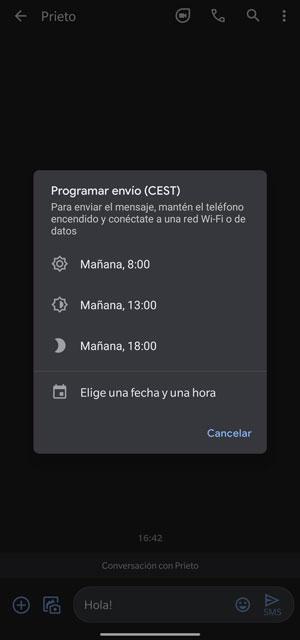 schedule sending google messages