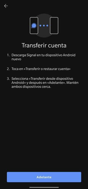 transfer chats signal