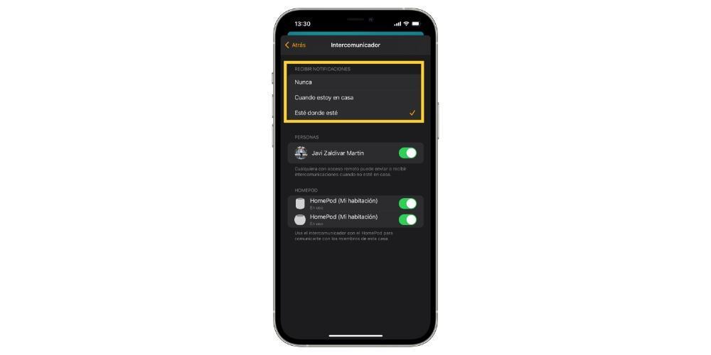 Choose intercom notifications