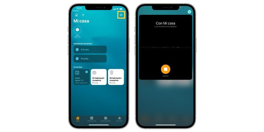 Use intercom app Home