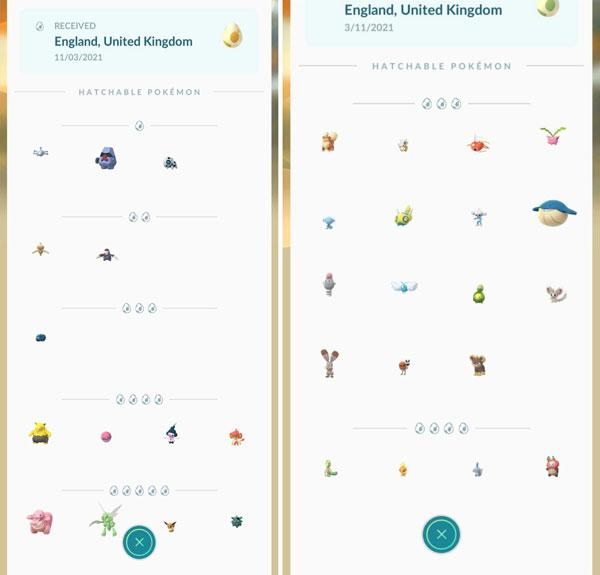 pokémon go eggs content