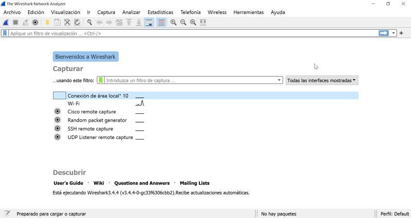 Wireshark interface